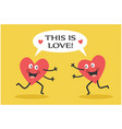 meeting two lovers hearts vector image vector image