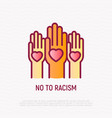 no to racism thin line icon hands with hearts vector image