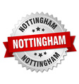 Nottingham round silver badge with red ribbon vector image vector image