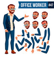office worker turkish turk face emotions vector image vector image