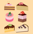 pieces of cakes and pastries vector image vector image