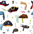 pirate hats and scarves seamless pattern vintage vector image