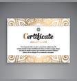professional certificate template design vector image