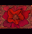 red artistic decorative blooming flower bohemian vector image
