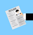 resume in human hold vector image