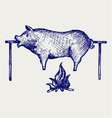Roasted pig vector image