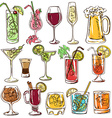 set isolated colorful cocktails vector image