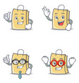 set of bag character with proud okay businessman vector image vector image