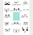 set of kawaii animals faces trendy vector image