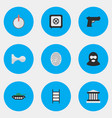 Set of simple crime icons elements criminal vector image