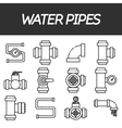 Set of water pipes and fittings vector image