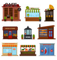 shops and cafes street showcases with products set vector image