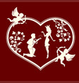 silhouette of a heart with cupids and a couple in vector image vector image