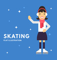 Sport Concept Female Cartoon Character Skater vector image