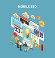 Web seo isometric and colored composition