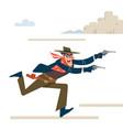 wild west gunslinger cowboy robber runs attack vector image vector image