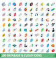 100 database and cloud icons set isometric style vector image vector image