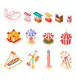 amusement park isometric cartoon icons set vector image vector image