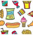 art of food various doodle set vector image vector image
