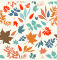 autumn rustic pattern with colored leaves vector image