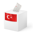 Ballot box with voicing paper Turkey vector image