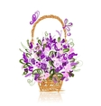 Basket with flowers for your design vector image vector image