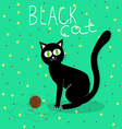 Black cat plays with wool ball vector image