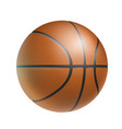 brown basketball ball realistic isolated vector image vector image