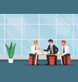 business people meeting and talking during coffee vector image