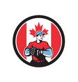 canadian baseball pitcher canada flag icon vector image vector image