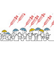 cartoon protesting people against vaccine vector image vector image