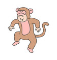 child in party costume of monkey dancing and vector image vector image
