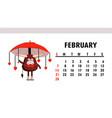 cute calendar 2021 year bull funny bull vector image vector image