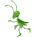 cute grasshopper cartoon walking vector image vector image
