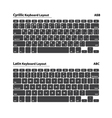 Cyrillic and Latin alphabet keyboard layout set vector image vector image