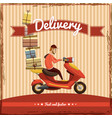 delivery boy ride scooter motorcycle service vector image vector image