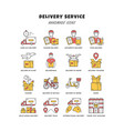 delivery yellow color icons set express goods vector image vector image