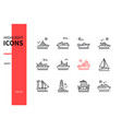 different ships - line design style icons set vector image vector image
