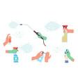 disinfectant spray in hand detergent sanitizer vector image