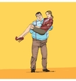 fat rich guy with a young girlfriend on his hands vector image vector image