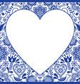 folk heart design greeting card scandinavian vector image vector image