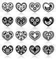 Folk hearts with flowers and birds icons set vector image vector image