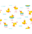 fun childish yellow ducky seamless pattern cartoon vector image