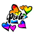 gay pride rainbow colored hearts pattern vector image