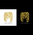 gold glitter tree concept symbol for nature care vector image vector image
