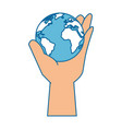 Hand taking earth planet vector image