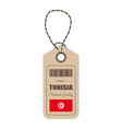 hang tag made in tunisia with flag icon isolated vector image