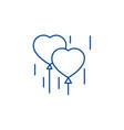 heart balloons line icon concept heart balloons vector image