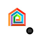 house design colorful logo rainbow color stripes vector image vector image