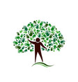 human figure tree with hands network logo vector image vector image
